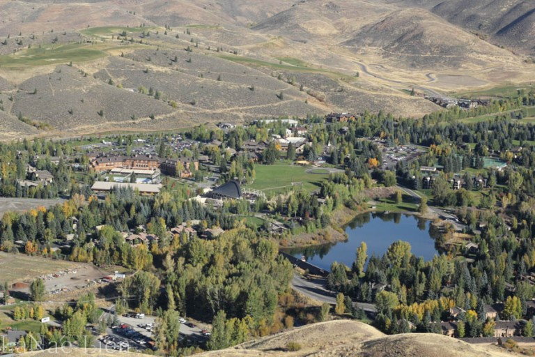 Looking down on the Sun Valley Lodge/Resort complex (close-up view)