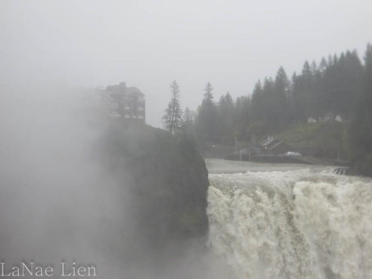 Salish Lodge in the mist.